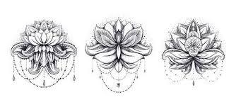 Vector Sier Lotus Set Etnische Zentangled Henna Tattoo Gevormd