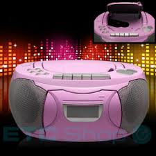 Stereo Cd Player Girls Music System Pink Fm Radio Aux Boombox Kids Room Party Ebay