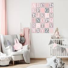 Gray And Millennial Pink Alphabet Block Wall Decals Fabric Wall Stick