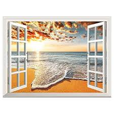 Uniquebella Large Removable Beach Sea At Sunrise Glow 3d Window Decal Wall Sticker Home Decor Openi Wall Stickers Home Decor Mural Wallpaper Removable Wall Art