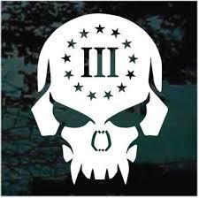 Gun Rights 3 Percenter Skull Decals Stickers Decal Junky