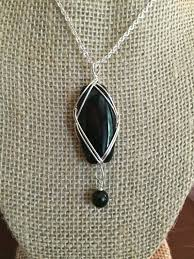 wire wrapped stone pendant necklace