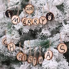 round wood christmas tree pendant