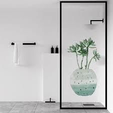 Mega Discount E4b8 No Glue Frosted Window Cover Film Waterproof Static Cling Glass Foil Window Sticker Monstera Plant Bathroom Cicig Co