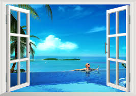 Ocean Beach At Sunset 3d Window View Decal Wall Sticker Decor Art Exotic Mural