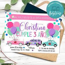 Invitacion De Desfile De Cumpleanos De Coche Rosa Imprimible