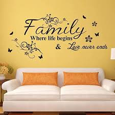 Amazon Com Supzone Family Where Life Begins Love Never Ends Wall Decals Quotes And Sayings Wall Stickers Big Size Removable Vinyl Art Living Room Bedroom Home Wall Decor Home Kitchen