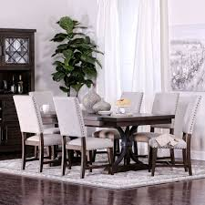 Espresso Stained Table Set W 6 Fabric Chairs Jerome S