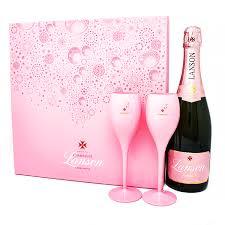 lanson rose chagne pink flute gift