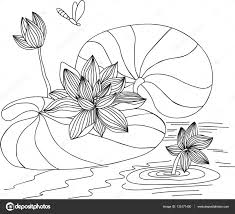 Lotus Geschilderd Met De Hand Gemaakt In Een Vector Kleurplaten