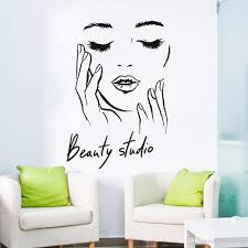 Female Face Vinyl Wall Decal Beauty Studio Door Sticker Cosmetic Makeup Wall Art Stickers Mural Removable Salon Decoration Art Wall Stickers Artistic Wall Decals From Joystickers 12 66 Dhgate Com