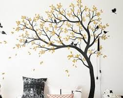 Large Nursery Tree Decals White Tree Wall Sticker With Birds Etsy Tree Wall Decal Kids Room Wall Decals Nursery Wall Decals Tree