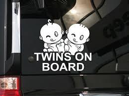 Twins On Board Cute Vinyl Car Decal Sticker 6 W W Cute Cartoon Babies Ebay
