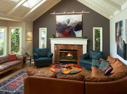 living room fireplace corner brown sofa
