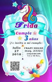 Invitacion De Unicornio Puqr6 Invitaciones Con Codigo Qr 99 00