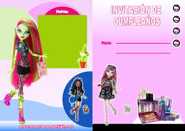 Invitaciones Munecas Monster High