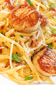Carbonara with Pan Seared Scallops ...