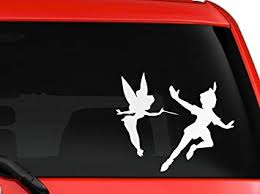 Amazon Com La Decal Peter Pan And Tinkerbell Children Cartoon Silhouette Car Truck Decal Sticker 6 White Automotive