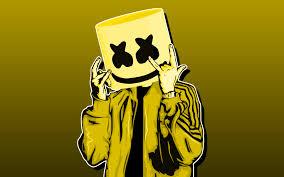 تحميل خلفيات Dj Marshmello 4k خلفية صفراء أمريكا دي جي الحد