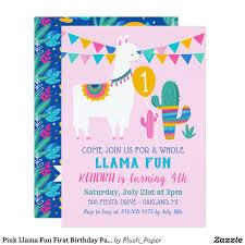 Pink Llama Fun First Birthday Party Invitation Zazzle Com