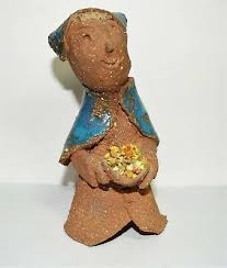BERTIE SMITH STUDIO Pottery Hand Textured Clay Woman with Flowers ...