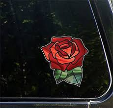 Amazon Com Rose Stained Glass D1 Opaque Vinyl Transfer Car Decal Yadda Yadda Design Co 5 W X 5 3 H Red Arts Crafts Sewing