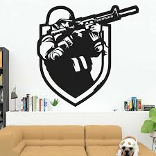 Gamer Soldier Wall Decal Gun Counterstrike Army Theme Game Vinyl Window Stickers Kids Boy Bedroom Playroom Home Decor Mural E436 Aliexpress