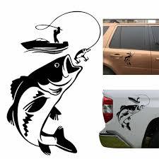 Car Sticker Boat Fishing Fisherman Vinyl Decal Fish Car Decor Black And White Ebay
