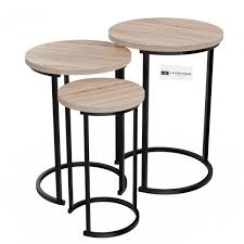 black wooden round nesting side tables