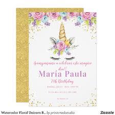 Watercolor Floral Unicorn Birthday Invitations Zazzle Com Baby