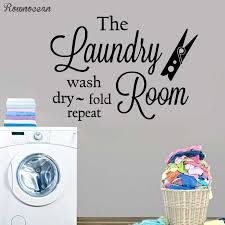 The Laundry Room Wall Art Vinyl Decal Wash Dry Fold Repeat Laundry Room Vinyl Wall Decor Clothespins Decoration Diy Ly08 Wall Stickers Aliexpress