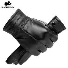sheepskin leather gloves black riveted