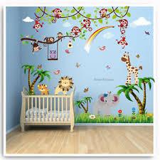 Animal Owl Jungle Wall Stickers Monkey Zoo Lion Tree Nursery Baby Room Decal Art Ebay
