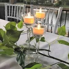 glass stem tealight holders sets of 3