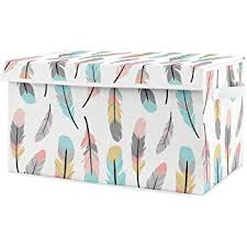 Amazon Com Sweet Jojo Designs Turquoise And Coral Boho Girl Baby Nursery Or Kids Room Small Fabric Toy Bin Storage Box Chest For Feather Collection Baby