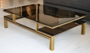 coffee table french smoked glass and