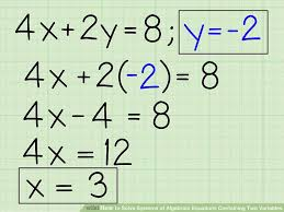 solving algebra with two variables one