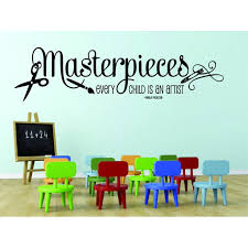 Custom Wall Decal Masterpieces Every Child Is An Artist Pablo Picasso Quote Art Classroom Paint Brush 20x30 Walmart Com Walmart Com