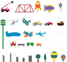 Amazon Com My Wonderful Walls Trains Airplanes Cars Room Wall Stencils For Painting A Boys Room Transportation Theme Wall Mural Home Kitchen