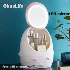 led hd mirror makeup storage box