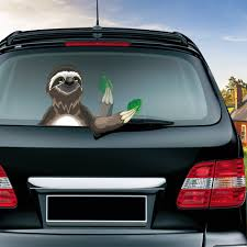 Funny Sloth With A Leaf Removable Waving Wiper Pvc Rear Window Wiper Stickers Rear Windshield Car Styling Decorative Accessories Car Stickers Aliexpress