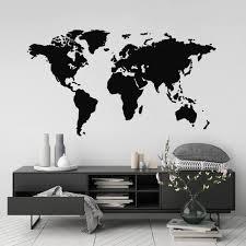 World Map Wall Sticker Modern Room Decor Removable Vinyl Etsy