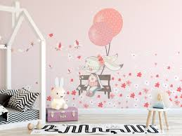 Cue Bunny With Pink Balloons And Little Flowers Wall Decal Sticker Wall Decals Wallmur
