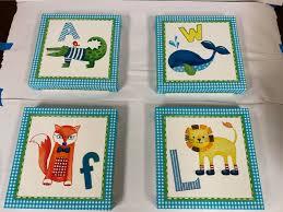 Nursery Wall Art Animal Paintings Set Of 4 Safari Baby Kids Room Prints Portrait For Sale Online Ebay