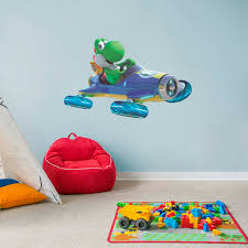 Yoshi On Bike Kart Super Mario Decal Removable Wall Sticker Decor Choose Size