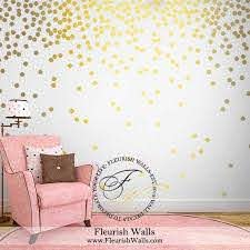 Gold Polka Dot Wall Decals Gold Wall Decal Dots Girls Room Etsy