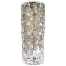 crystal glass vase 8 inch basketweave