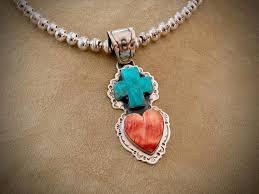 necklace heart pendant turquoise orange