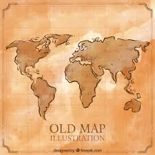 old hand drawn world map free vector