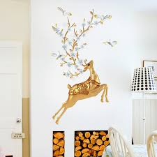 3d Golden Sika Deer Flower Wall Stickers Removable Wallpaper Door Decals For Home Living Room Decoration Nordic Style Home Decor Wall Stickers Aliexpress